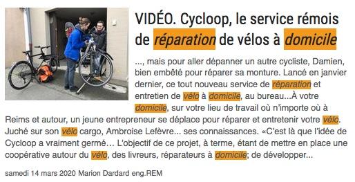 Article Presse référence Cycloop reparation velo a domicile reims atelier velo